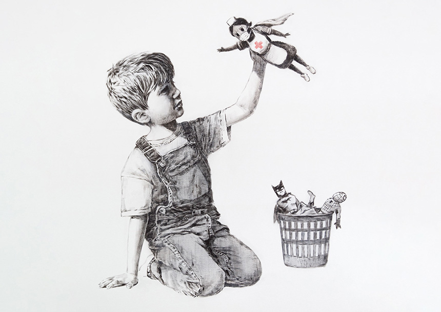 drawing of boy holding figurine of nurse