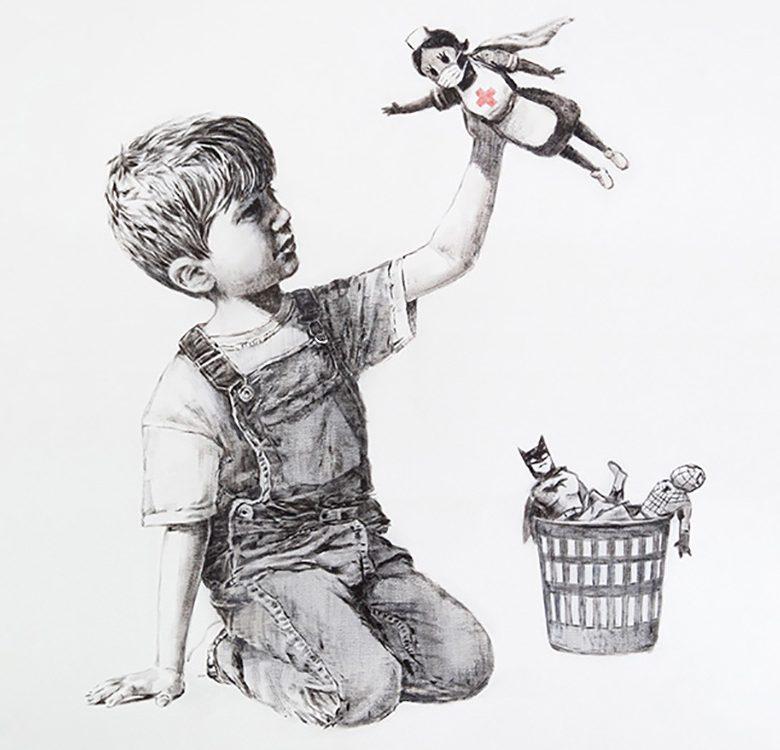 drawing of boy holding figurine of nurse
